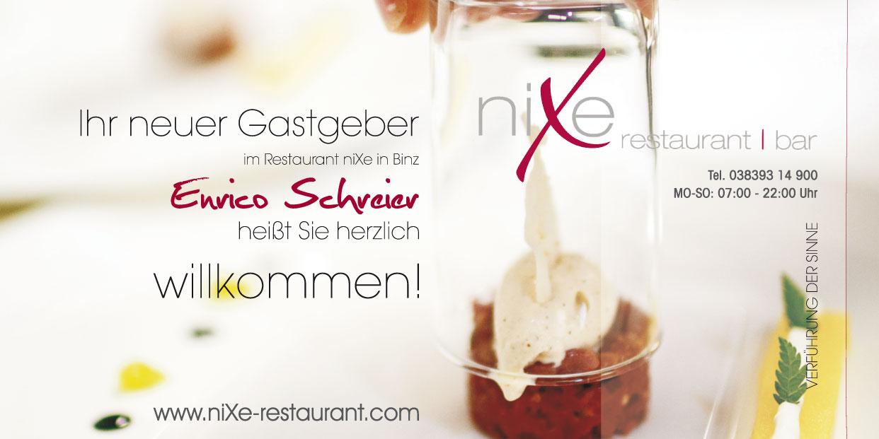 Flyer - niXe restaurant Binz